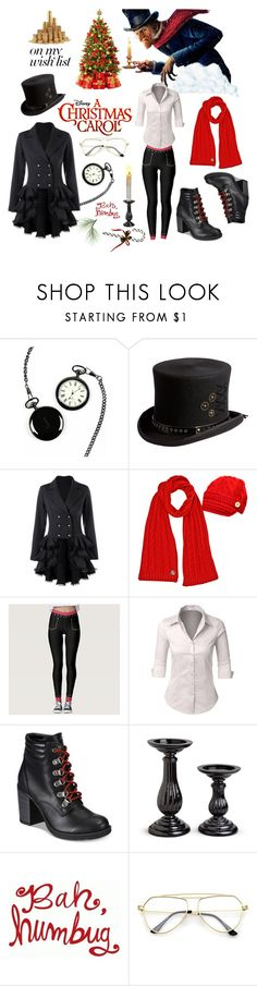 """""""Scrooge Outfit : Disney's A Christmas Carol"""" by keisha-polyvore ❤ liked on Polyvore featuring Cathy's Concepts, Disney, Overland Sheepskin Co., LE3NO, ESPRIT, Improvements, Christmas, scrooge, achristmascarol and polyPresents"""