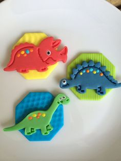 Fondant Dinosaur Cupcake toppers by FireflyEdibleDesigns on Etsy