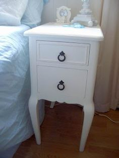 Vanity cut into two shabby chic nightstands or bedside tables
