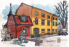 Nina Johansson » Blog Archive » Stockholm Urban Sketchers at Nytorgsgatan