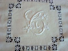 whitework cushion - monogram & drawn threadwork 2012