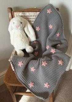 Grey Simple Star Baby Blanket Crochet Pattern Free
