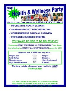 Distributor Wellness Party Flyer by Kangen Synergy Worldwide via slideshare