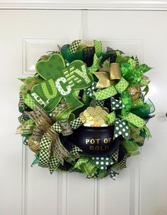 A personal favorite from my Etsy shop https://www.etsy.com/listing/500768800/st-patricks-day-wreath-pot-of-gold-deco