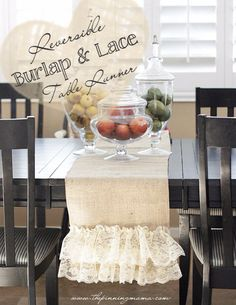 Shabby Chic Decor and Bedding Ideas - DIY Reversible Burlap And Lace Table Runner - Rustic and Romantic Vintage Bedroom, Living Room and Kitchen Country Cottage Furniture and Home Decor Ideas. Step by Step Tutorials and Instructions http://diyjoy.com/diy-shabby-chic-decor-bedding