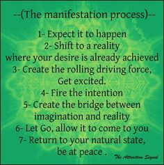 The Manifestation process: 1. Expect it to happen .. 2. Shift to a Reality where your desire is already achieved .. 3. Create the rolling driving force .. 4. Fire the intention .. 5. Create the bridge between imagination and reality .. 6. Let Go, allow it to come to you .. 7. return to your Natural State, be at Peace.