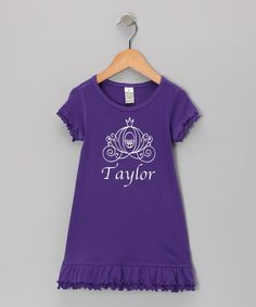 Take a look at this Purple Ruffle Personalized Dress - Infant, Toddler & Girls on zulily today!