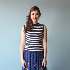 nautical top / sleeveless navy white stripe by brownbagvintage, $24.00