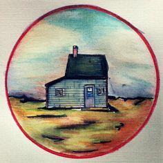 Old house, drawing made with ink and pencil. Circle/mandala