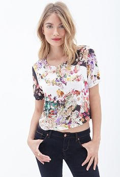 Contemporary Boxy Floral Print Top