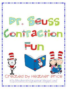 Free!!! Dr. Seuss Contraction Fun!!! Love the clipart....could also use for fun match!!!  9 pages!!!