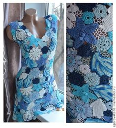 "Dresses handcrafted.  Fair Masters - handmade.  Buy DRESS ""Ariadna"".  Handmade.  Blue dress crocheted"