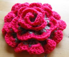 crochet flower version one pink and grey