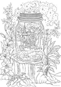 Fantasy Lion - Printable Adult Coloring Page from Favoreads (Coloring book pages for adults and kids, Coloring sheets, Coloring designs) The gnomes are having a good time in their little fantasy land. This adult coloring page is great for fairy tale fans. Shape Coloring Pages, Detailed Coloring Pages, Printable Adult Coloring Pages, Flower Coloring Pages, Coloring Book Pages, Colouring Pages For Adults, House Colouring Pages, Tumblr Coloring Pages, Colouring Sheets For Adults