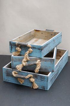 3 Blue Wood Trays Rope Handles, Coastal Decor