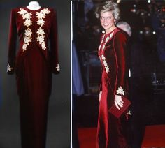 Catherine Walker burgundy velvet sheath with embroidered tailcoat worn for the State visit to Korea in 1992 by Britain's Princess Diana.
