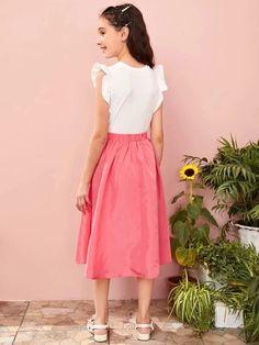 Girls Elastic Waist Bow Front Flare Skirt – Kidenhouse Belted Dress, Dress P, Flare Skirt, Midi Skirt, Cute Young Girl, Chic Outfits, Elastic Waist, Bows, Girl Skirts