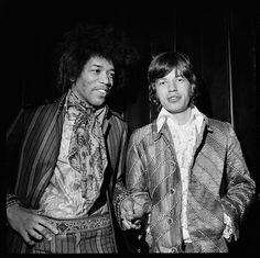 Mick Jagger (The Rolling Stones) and Jimi Hendrix Mick Jagger, Woodstock, Bowie, The Rolling Stones, Iggy Pop, Melanie Hamrick, Photo Rock, Historia Do Rock, Georgia May Jagger
