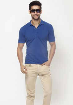 Short Sleeves  Blue Polo T Shirt  Price : Rs.449