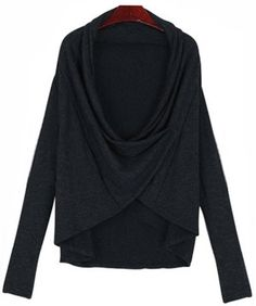 like but another color Black Draped Neck Long Sleeve Knit Sweater
