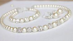 Wedding Jewelry Set, Swarovski Pearl Bridal Jewelry Set, Pearl Necklace Earrings Bracelet Set,  art. 187 Belissima