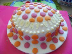Polka dot 1st birthday cake