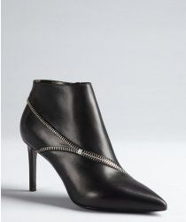 Saint Laurent black leather zipper detailed pointed toe ankle booties