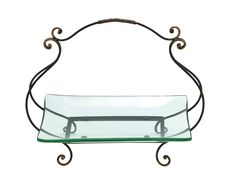 Glass plate with basket style swivel handle-Features This glass plate with metal stand has a stand that measures 20 inch (width) x6 inch (D) x17 inch (H), and glass plate that measures 17 inch (width) x 12 inch (D) x2 inch (H) beautiful and clear glass plate Exquisite iron stand with graceful handle on top Description: Bring an elegant charm to your home with this fabulous glass plate with metal stand. It is made of clear glass and a beautiful iron stand. The plate is of a beautiful square…