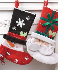Santa & Snowman Stockings, looks easy to make. Christmas Stocking Images, Felt Christmas Decorations, Felt Christmas Ornaments, Christmas Sewing, Christmas Makes, Noel Christmas, Christmas 2019, Felt Crafts, Holiday Crafts