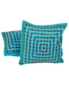 Turquoise Mirror Lace Work Cushion Cover Pair, buy cushion cover, buy cushions