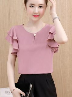 Women's Going out Cotton Blouse - Solid Colored Blouse Styles, Blouse Designs, Casual Outfits, Fashion Outfits, Affordable Clothes, Affordable Fashion, Fashion Tips For Women, Fashion Ideas, Blouse Dress