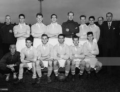 The players of Manchester City Football Club, a side with a good chance of winning the league Championship. From the back row and from left to right : Laurie Barnet (trainer), Bill McAdams, Dave Ewing, Ken Barnes, Bert Trautmann, Roy Little, Ken Branagan, Fred Tilson, (assistant trainer), Les McDowall (manager), Jim McClelland (coach), Fionan Gagan, Don Revie, Roy Paul (captain), Johnny Hart, and Roy Clarke. Original Publication: Picture Post - 7396 - Manchester City - pub. 1954.
