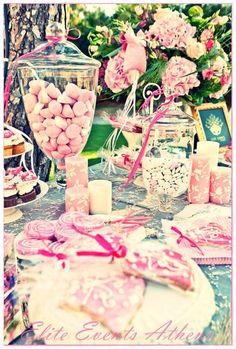 Party decor at a baptism for a baby girl..Not sure if I would take it to this extreme but if I had a daughter I probably would consider it!