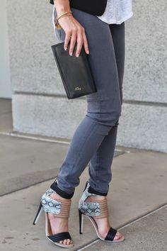@haulercentral in DSTLD Ankle Skinny jeans in Charcoal Tencel | http://dstldjeans.com