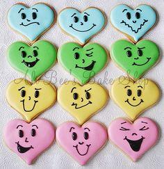 Heart happy face cookies