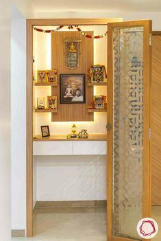 Wooden Temple Ideas for Mandir Design for Home Living Room Partition Design, Room Partition Designs, Bedroom False Ceiling Design, Hallway Designs, Kitchen Room Design, Home Room Design, Living Room Designs, House Design, Temple Design For Home