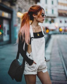 from Lua by Outfits For Teens, Cool Outfits, Fashion Outfits, Fashion Clothes, Dungarees Shorts, Luanna Perez, Hipster Girls, Lace Ruffle, Cotton Lace