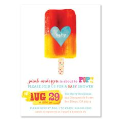 About to Pop Baby Shower, Ready to Pop Baby Shower, Popsicle Party Pop Baby Showers, Simple Baby Shower, Gender Neutral Baby Shower, Baby Shower Parties, Baby Shower Favors, Baby Shower Themes, Shower Ideas, Baby Shower Invitation Wording, Invite