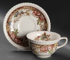 Johnson Brothers DEVONSHIRE-BROWN-MULTICOLOR Cup & Saucer 275286 #JohnsonBrothers