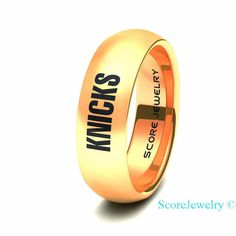 14K Rose Gold Tungsten Band with Domed Edge NBA Basketball New York Knicks Ring