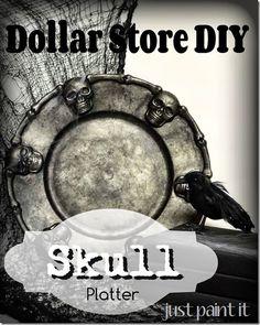 make a plastic dollar store platter look like faux zinc in three easy steps!