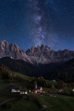 Milky Way over Val di Funes - This is composite photo, consist of 5 exposures. 2 for the ground, 2 for the lights on the city and church and one Milky Way. We stay about 3 hours in that beautiful valley to capture this, and had to turn about 90° to capture the galactic core.  For that pictures we use Canon 80D and Canon 24-105mm L, Tokina 11-20mm for Milky Way, Induro tripod and Acratech head.