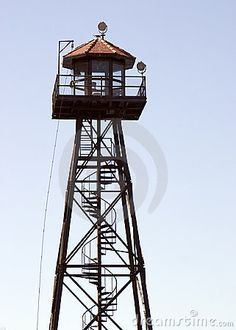Photo about Prison guard tower on Alcatraz Island. Image of checkpoint, alcatraz, fence - 3090226 Abandoned Prisons, Building Design, Towers, National Parks, Stock Photos, Architecture, Yosemite Waterfalls, School Projects, Drawing Reference