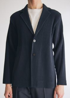 Tailored jacket from Homme Plissé Issey Miyake. Long sleeves with single-button cuffs. Vented back hem. Machine wash cold in net . Made in Philippines Workout Plan For Men, Workout Plan For Beginners, Fitness Planner, Workout Planner, Issey Miyake Men, How To Get Thick, Sartorialist, Tailored Jacket, Older Men