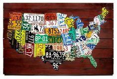 Inspiration for collaborative work: License Plate Art - USA  www.yournestdesign.blogspot.com