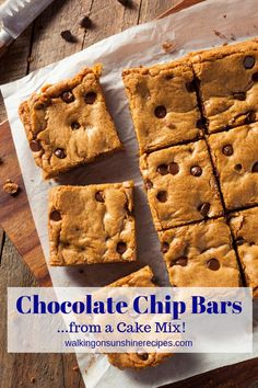 Chocolate chip Bar Cookies from a Cake Mix are so easy to make and are the perfect treat for the kids or for school bake sales. Chocolate chip Bar Cookies from a Cake Mix are so easy to make and are the perfect treat for the kids or for school bake sales. Chocolate Chip Cookie Bars, Chocolate Chip Recipes, Chocolate Pies, Homemade Chocolate, Cake Mix Recipes, Cookie Recipes, Dessert Recipes, Cake Mixes, Easy Desserts