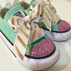 Mint Gold and Pink Bling Converse  Shabby Chic by LoveLBP on Etsy