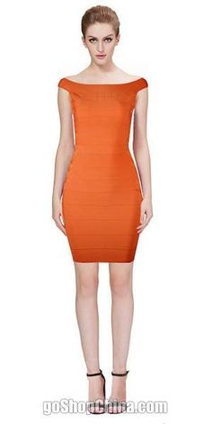 Wholesale Bandage Dresses China shop sell sexy bandage bodycon dresses off shoulder orange mini dress,fast delivery worldwide.