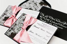 Wedding invitation Vintage Lace - Black and White. $8.00, via Etsy.