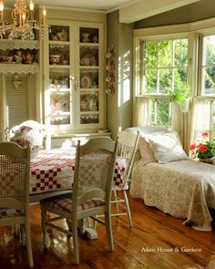 Dining Area with Bay Window at Aiken House and Gardens - I've always loved lace on the edge of shelves!!